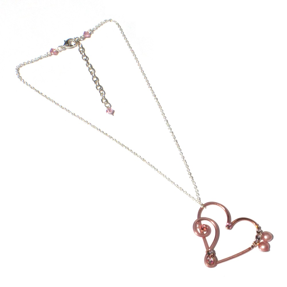 Heart bass treble clef large pendant learn to make jewellery heart treble bass clef rose gold left aloadofball Images